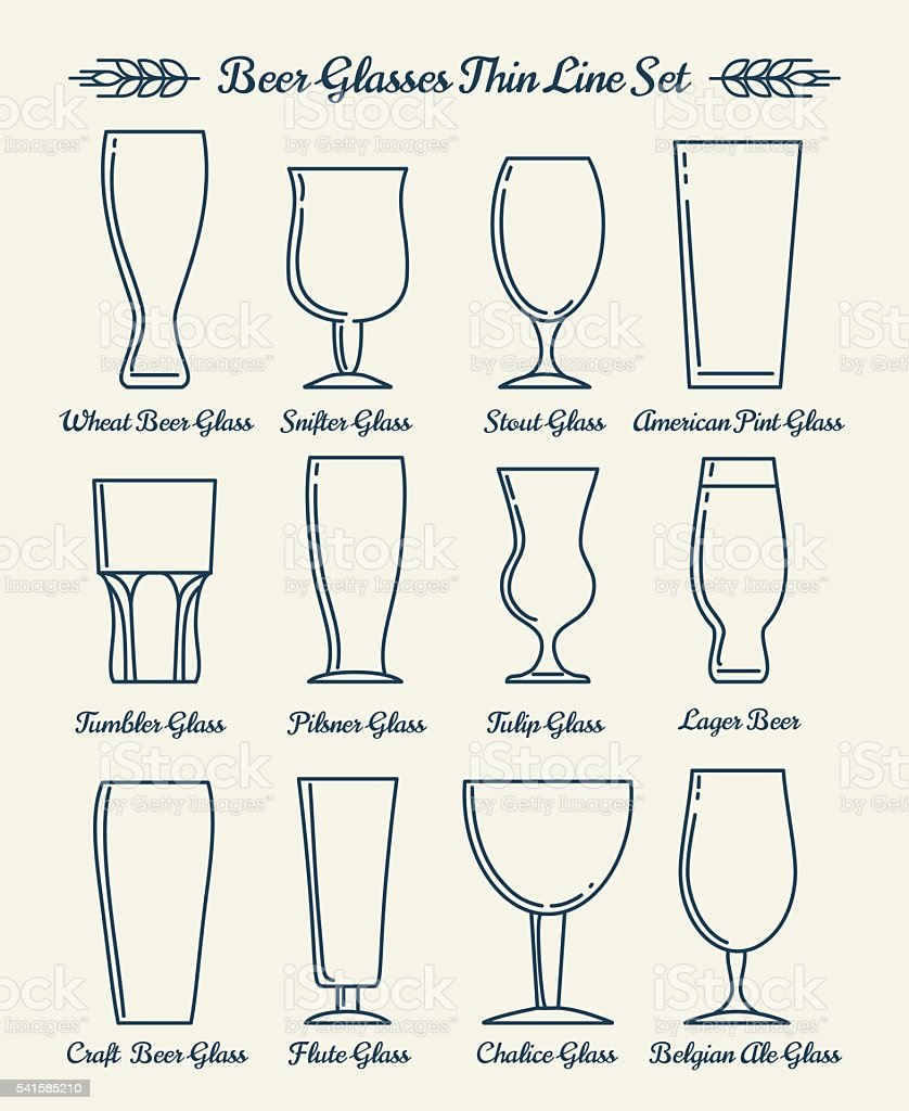 Beer glassware line icons vector art illustration