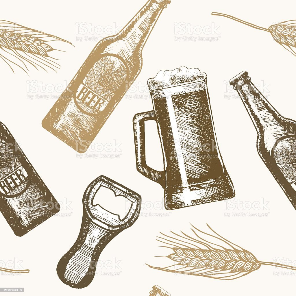 Beer Hand Draw Sketch Background Pattern Vector stock ...