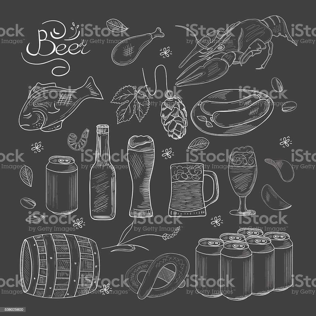 Beer hand-drawn doodle collection vector art illustration