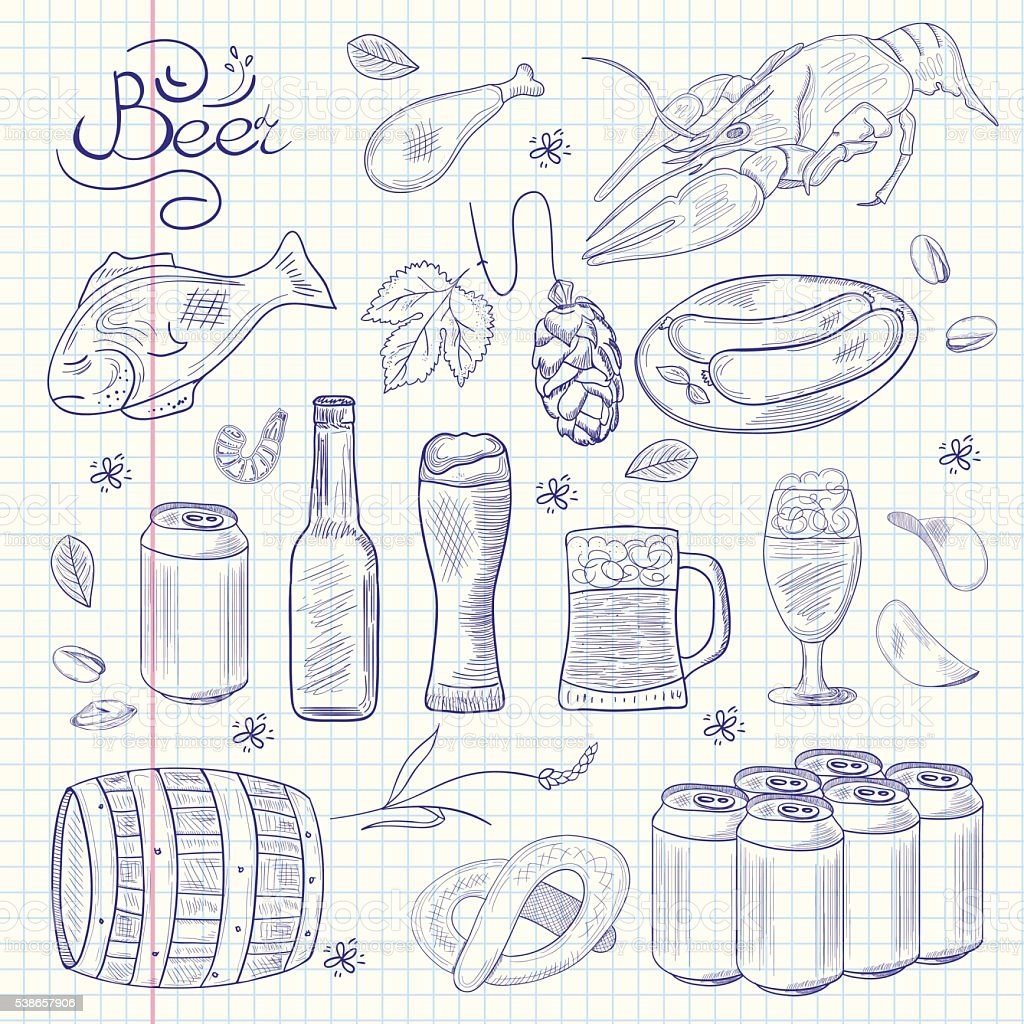 Beer hand-drawn doodle collection. vector art illustration