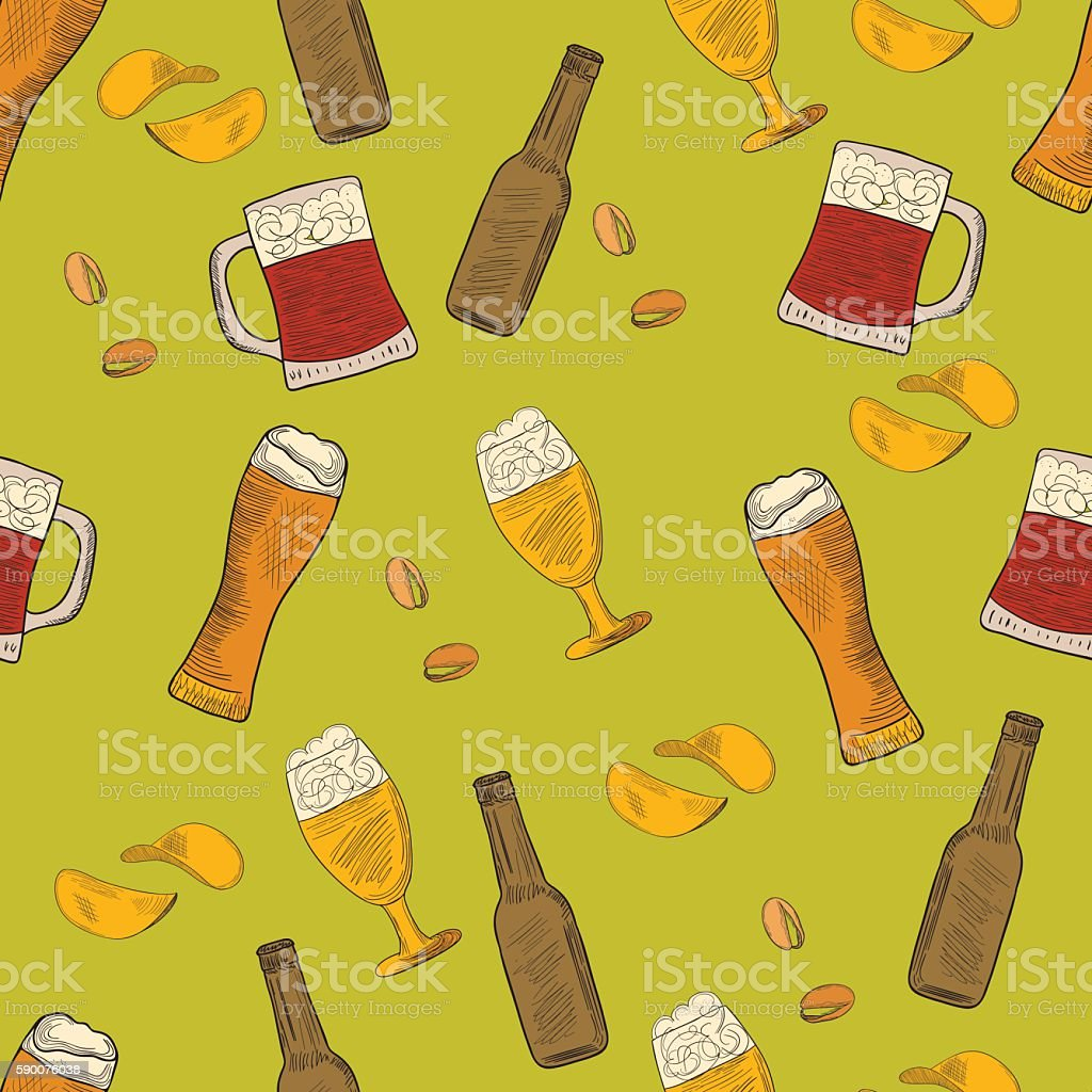 Beer hand-drawn doodle seamless pattern vector art illustration