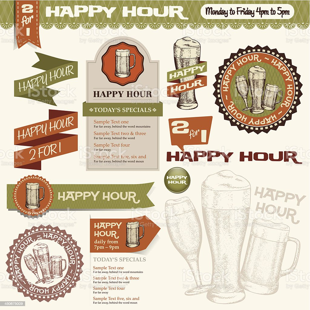 Beer Happy Hour Collection vector art illustration