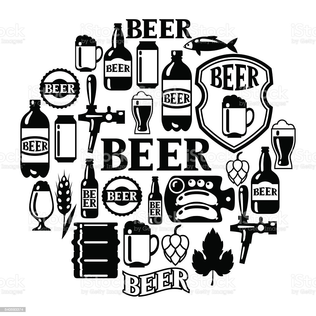 Beer icon and objects set for design vector art illustration