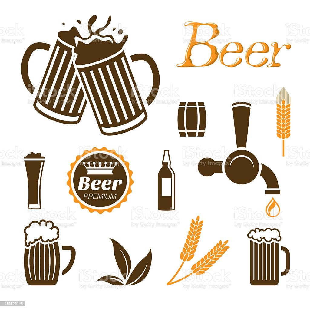 Beer icon set vector art illustration
