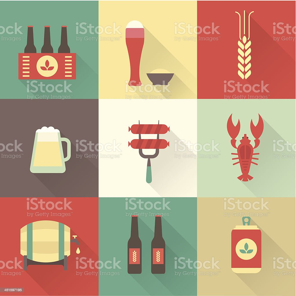 Beer icons set vector art illustration