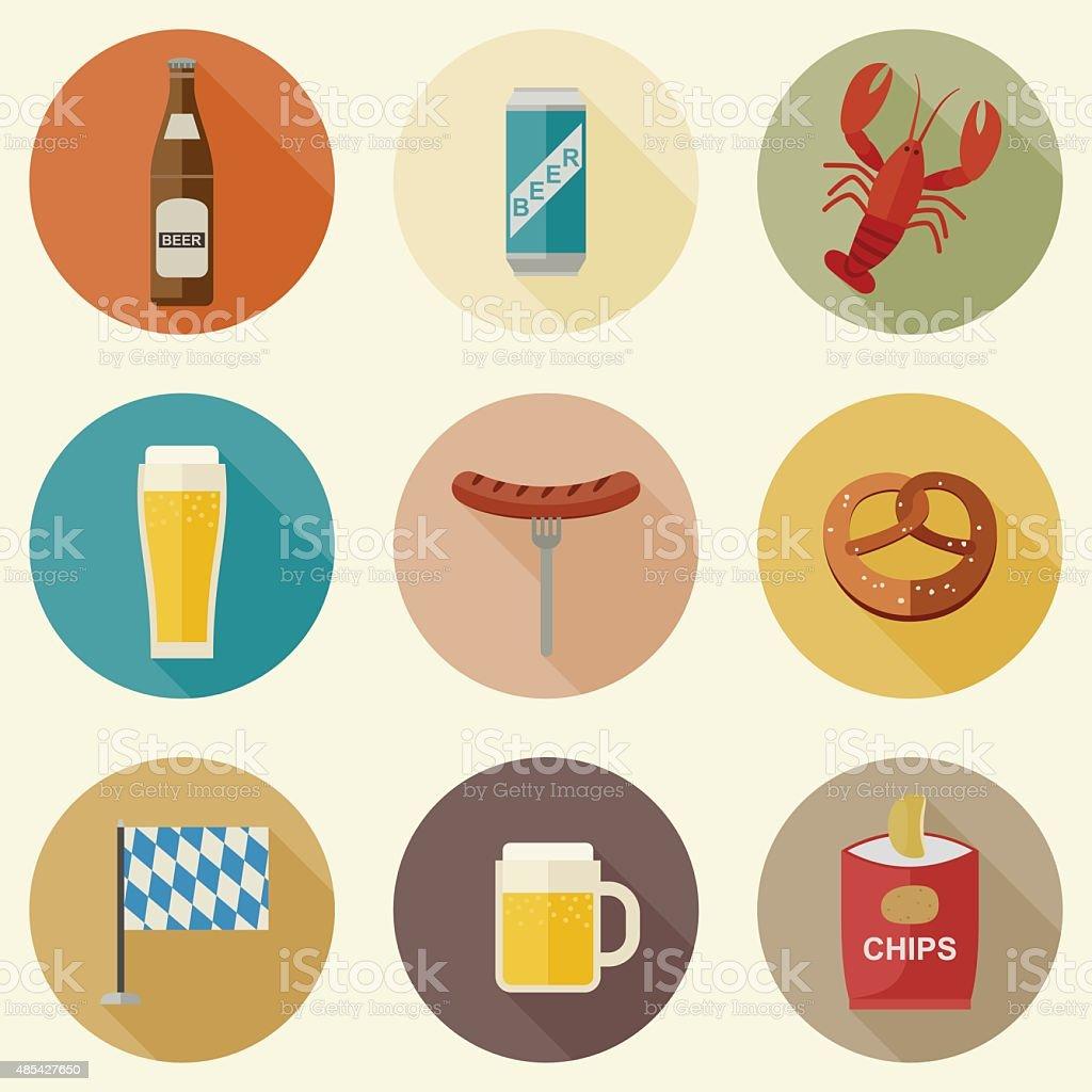 Beer icons vector art illustration