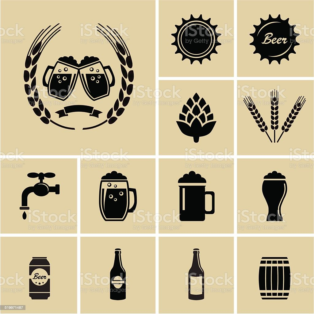 Beer Icons vector art illustration