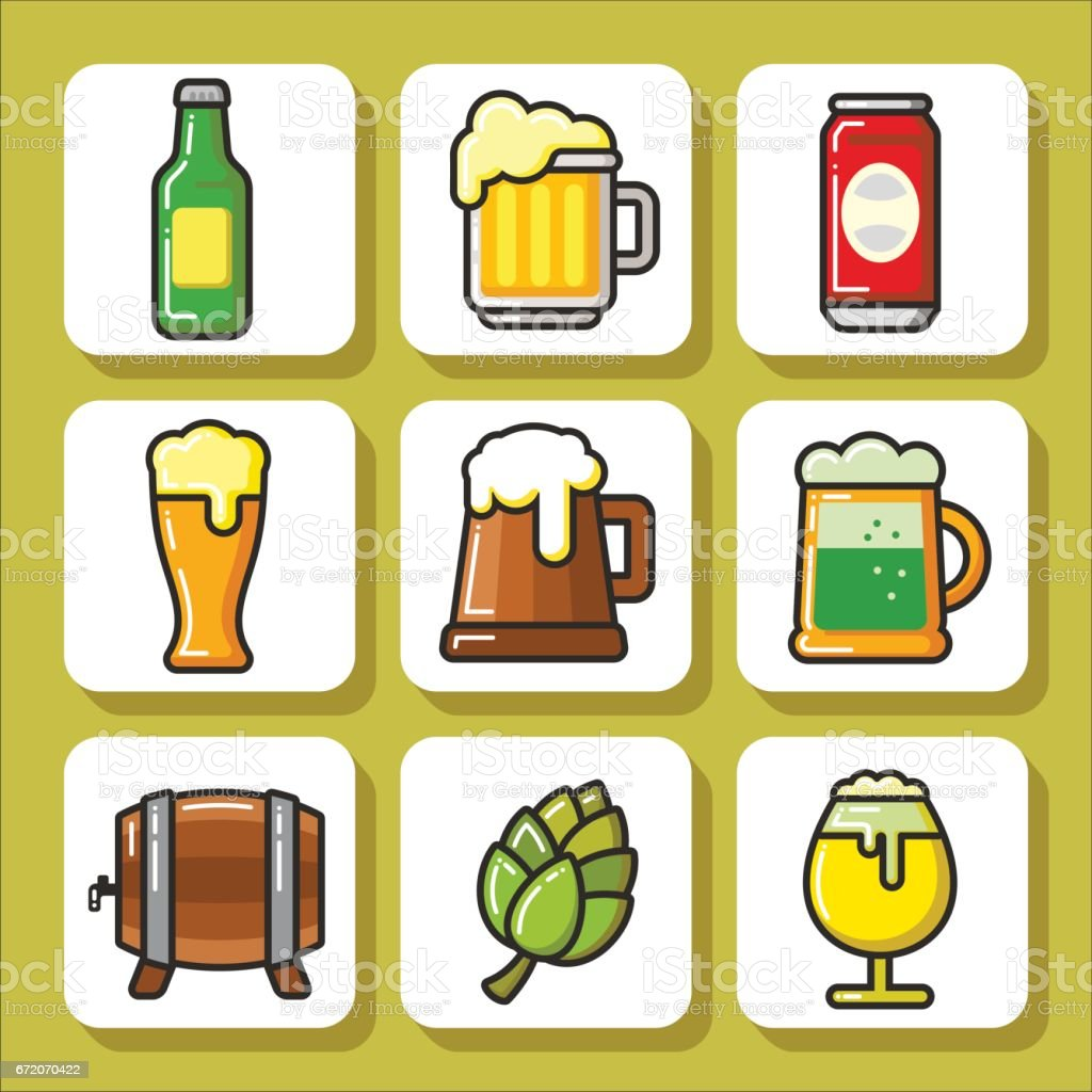 Beer icons_1 vector art illustration