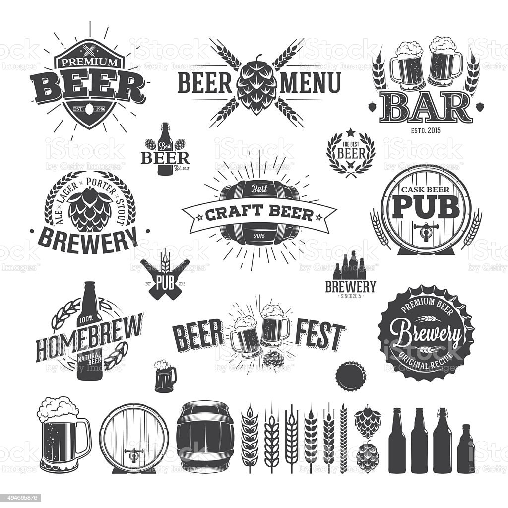 Beer Label and Logos vector art illustration