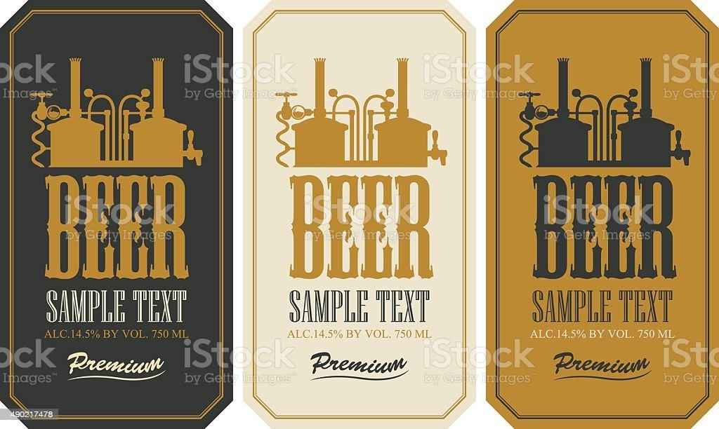 Beer label set vector art illustration