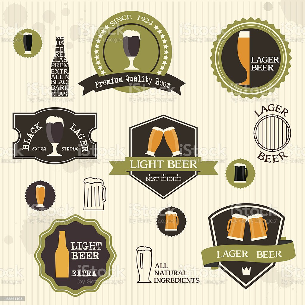 Beer Labels vector art illustration