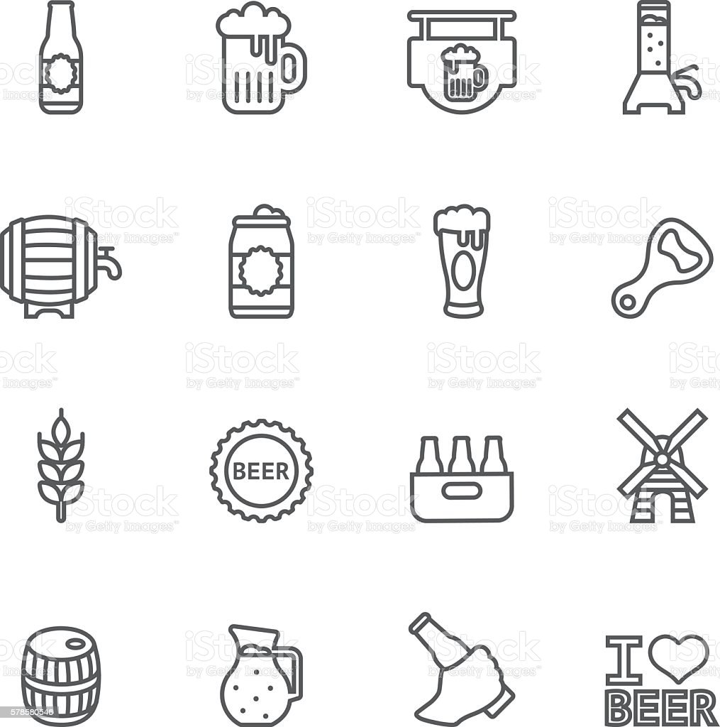 Beer Line icons | EPS10 stock photo