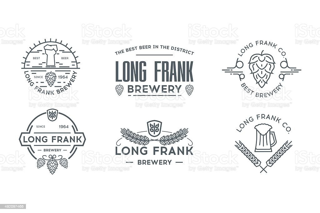 Beer line logo template. Stock vector. vector art illustration