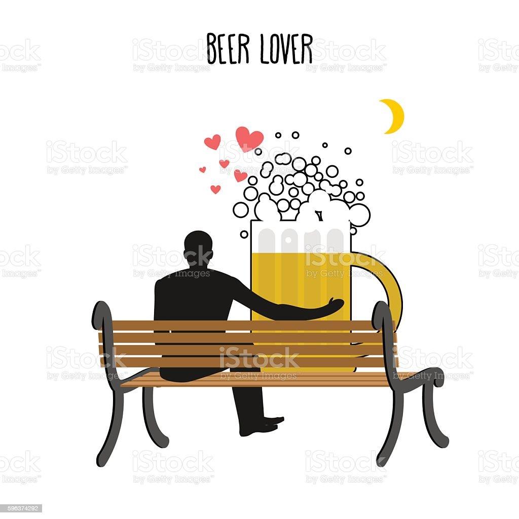 Beer lover. Beer mug and watch people on moon. vector art illustration