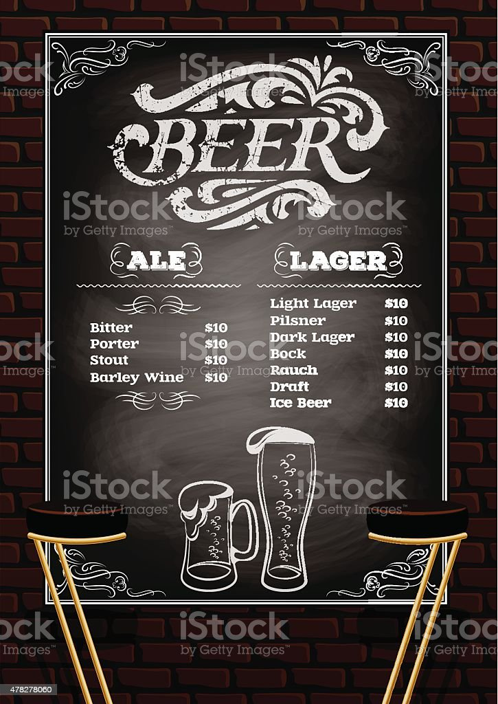 Beer Menu On The Brick Wall Background Stock Vector Art