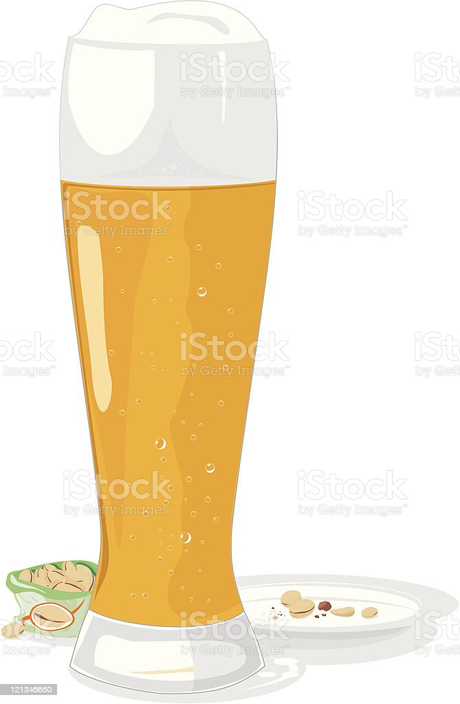Beer mug and pistachio vector art illustration