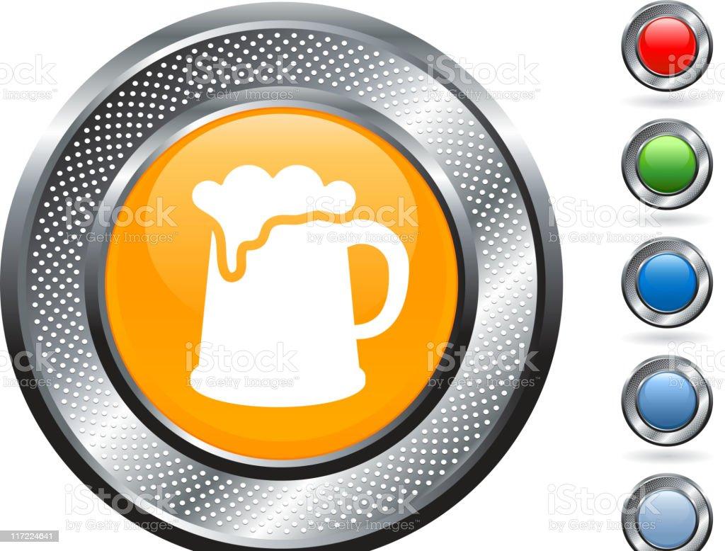 beer mug royalty free vector art on metallic button royalty-free stock vector art