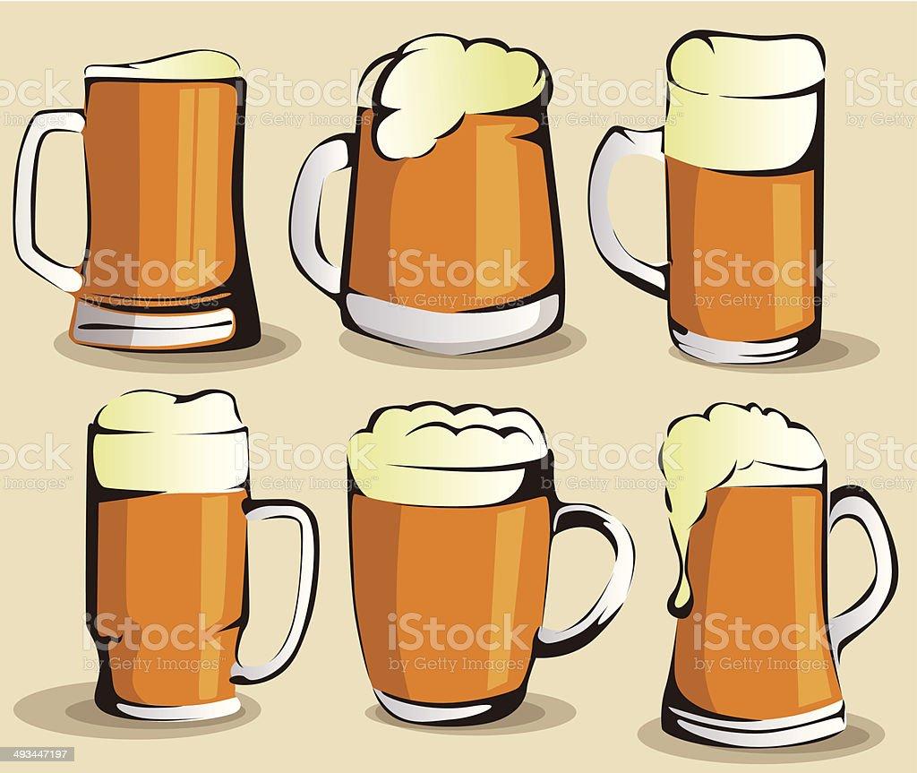 Ensemble de chope de bière stock vecteur libres de droits libre de droits
