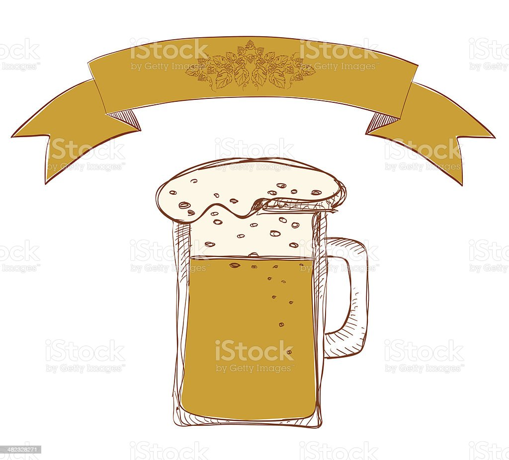 Beer Mug With Hop Banner vector art illustration