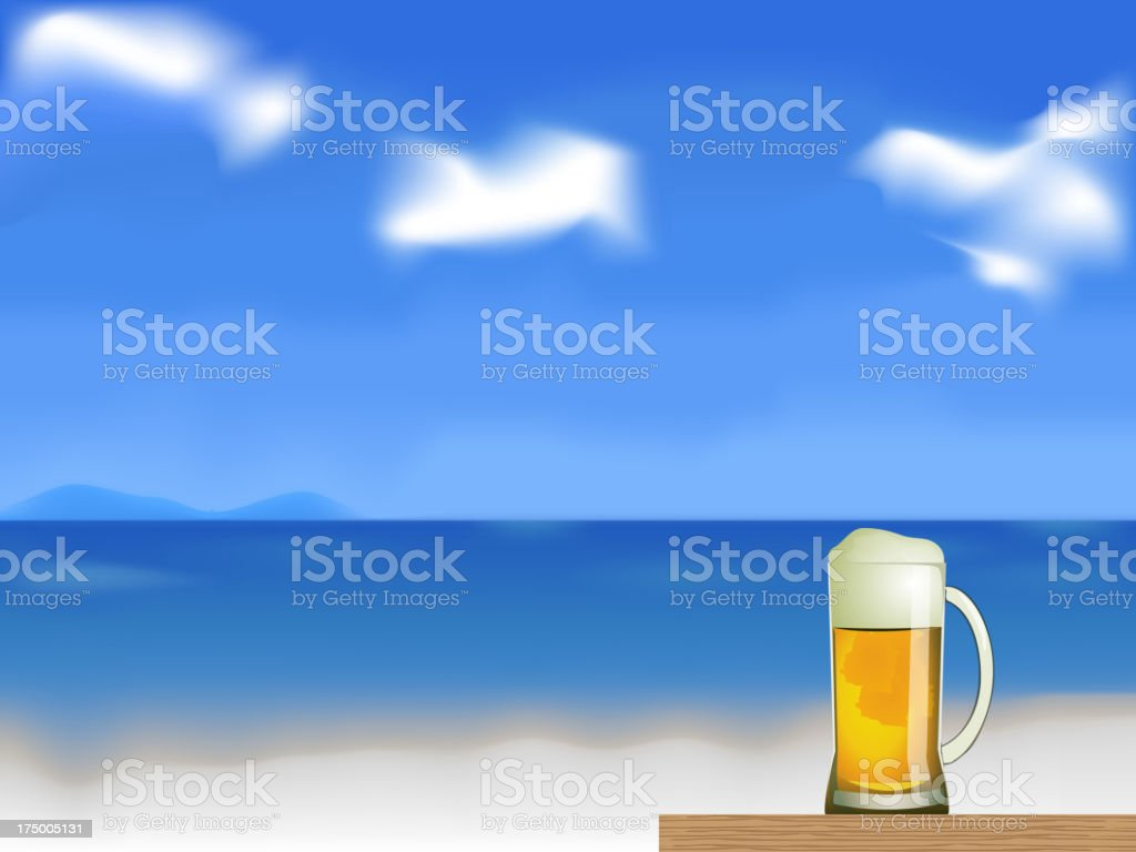 beer on the beach vector royalty-free stock vector art