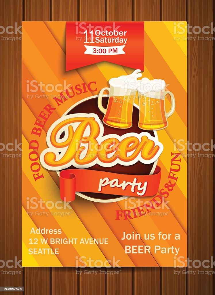 Beer party flyer, vector illustration. vector art illustration