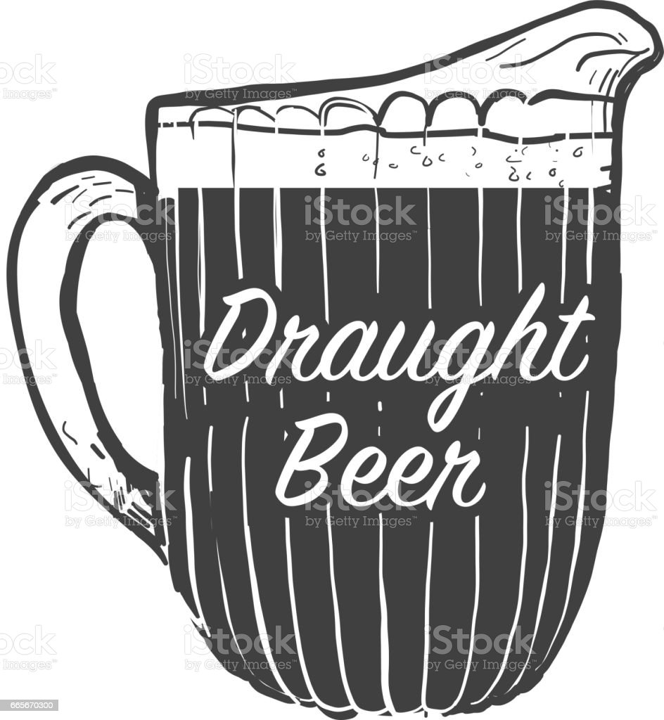 Beer pitcher with text phrases vector art illustration