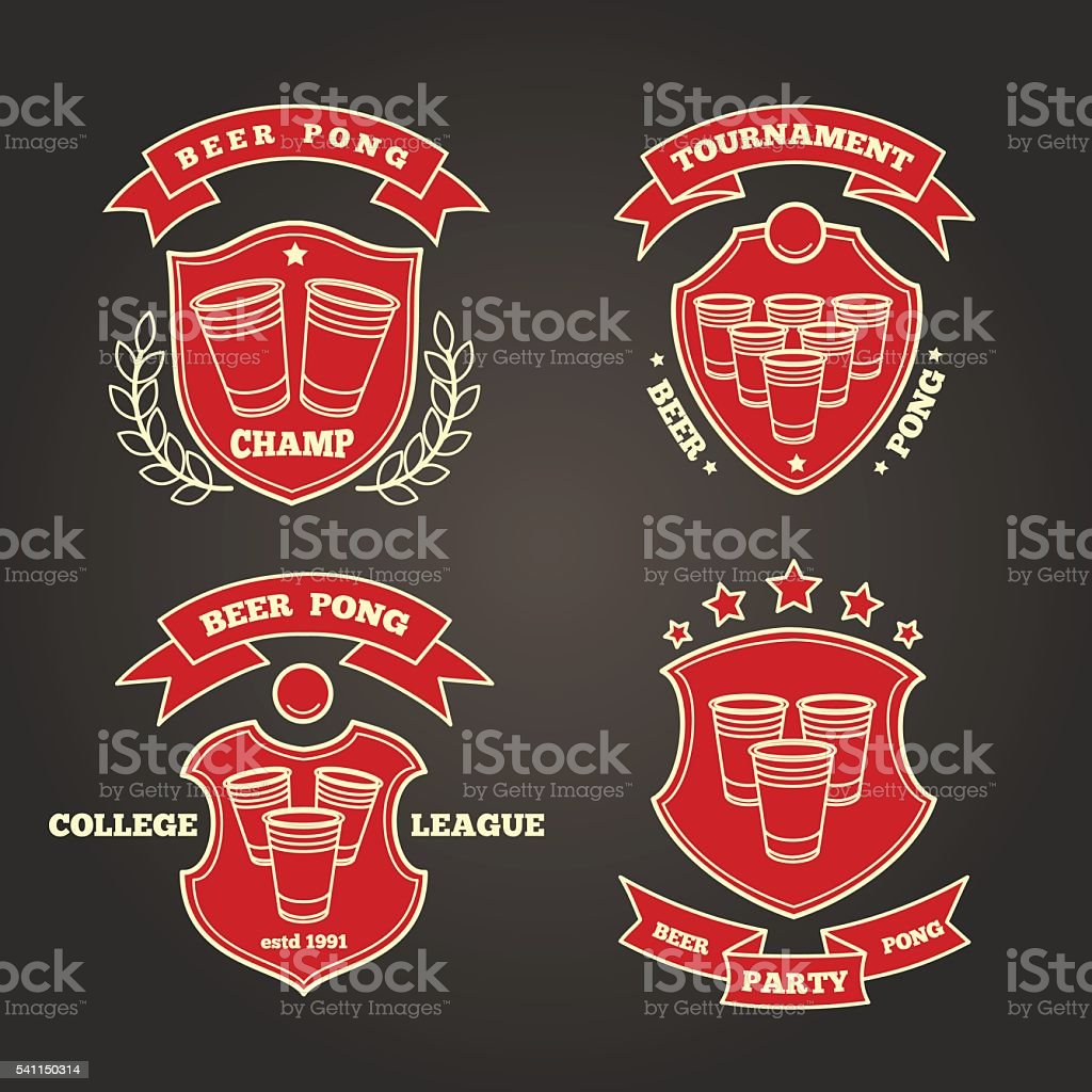 Beer pong signs vector art illustration