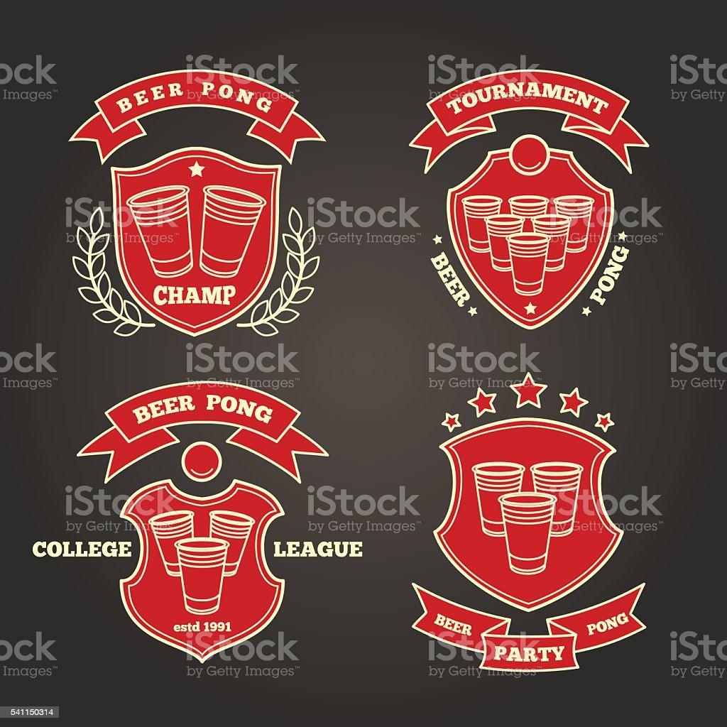 Beer pong signs vector art illustration