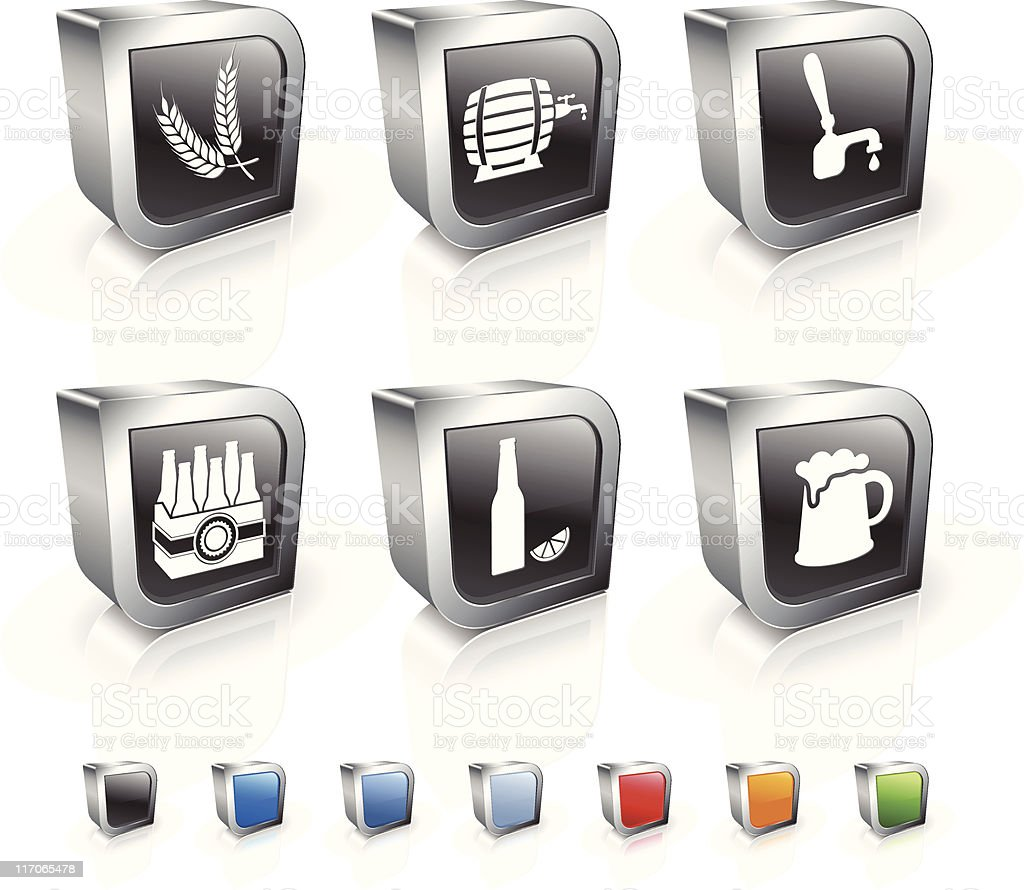 beer process and equipment 3D royalty free vector icon set royalty-free stock vector art