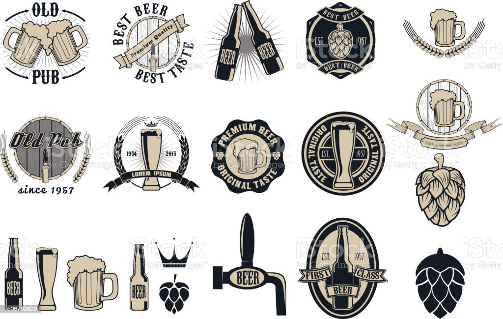 Beer pub labels, badges and icons collection vector art illustration
