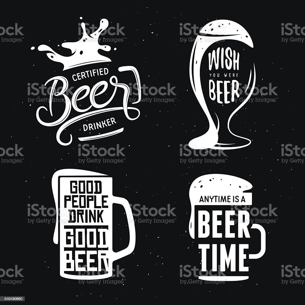 Beer related typography set. Vector vintage lettering illustration. vector art illustration