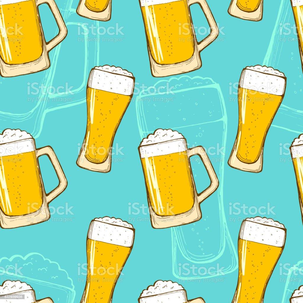 Beer seamless pattern vector art illustration