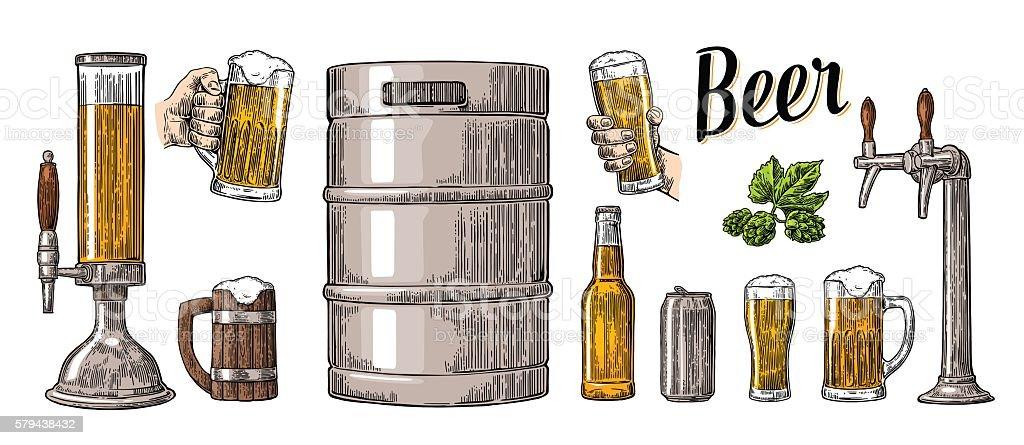 Beer set two hands holding glasses and can, keg, bottle vector art illustration