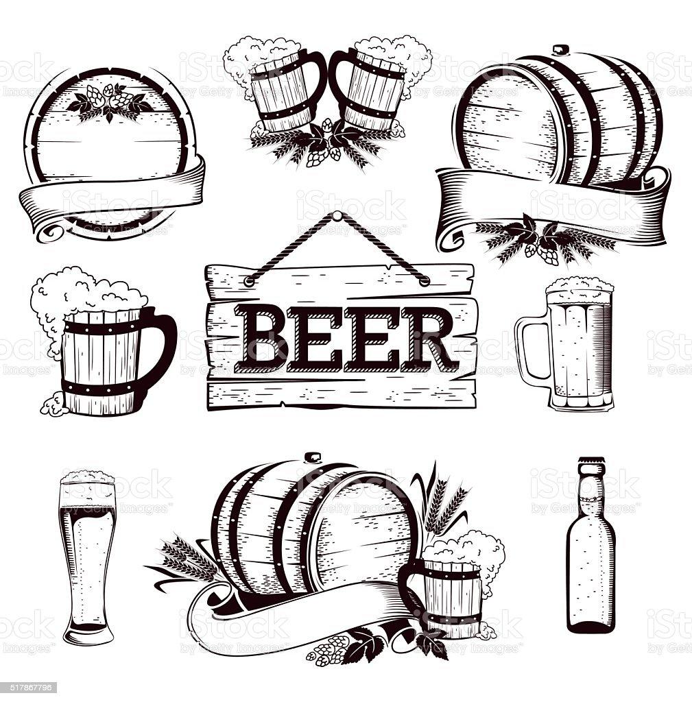 beer set vector art illustration