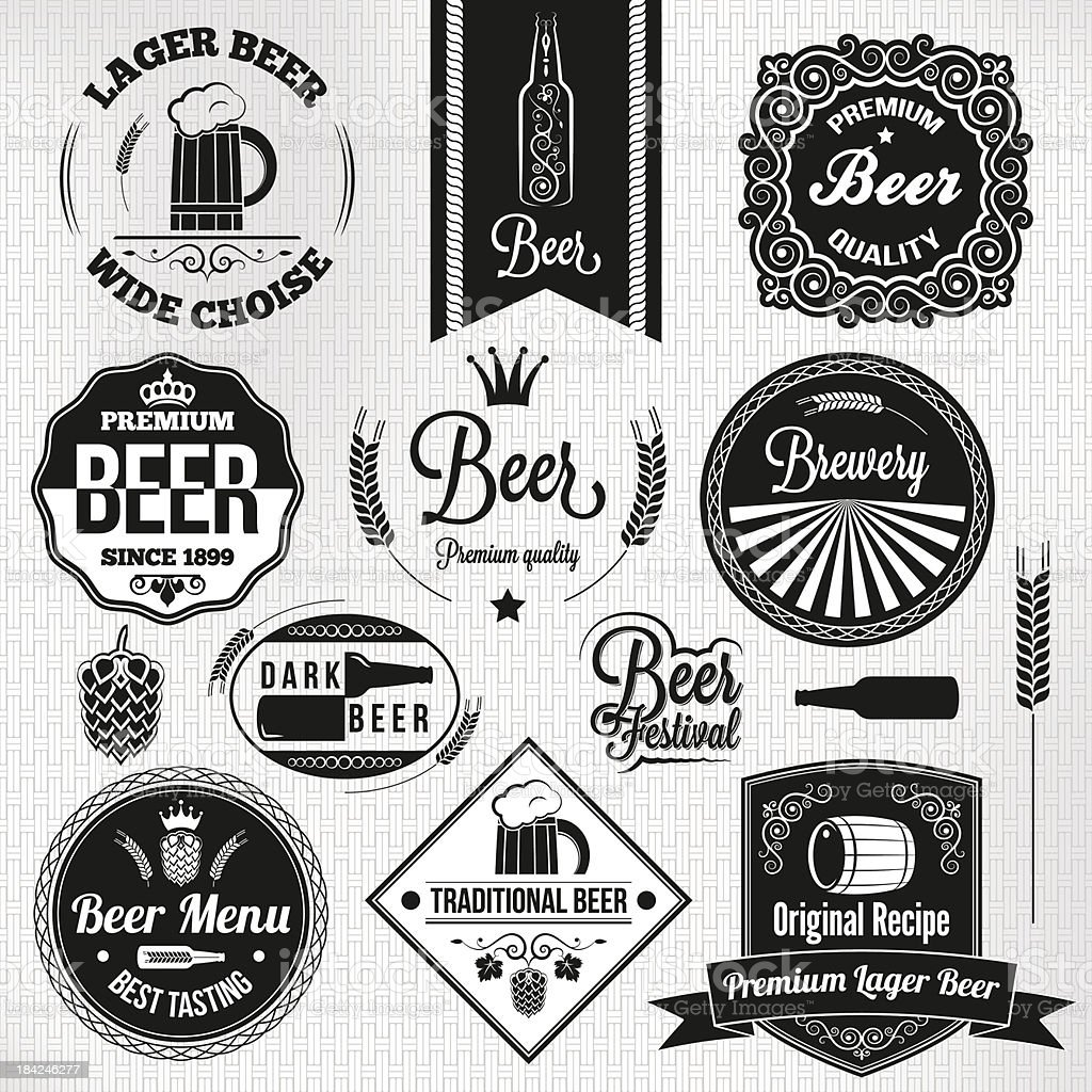 beer set vintage lager labels vector art illustration