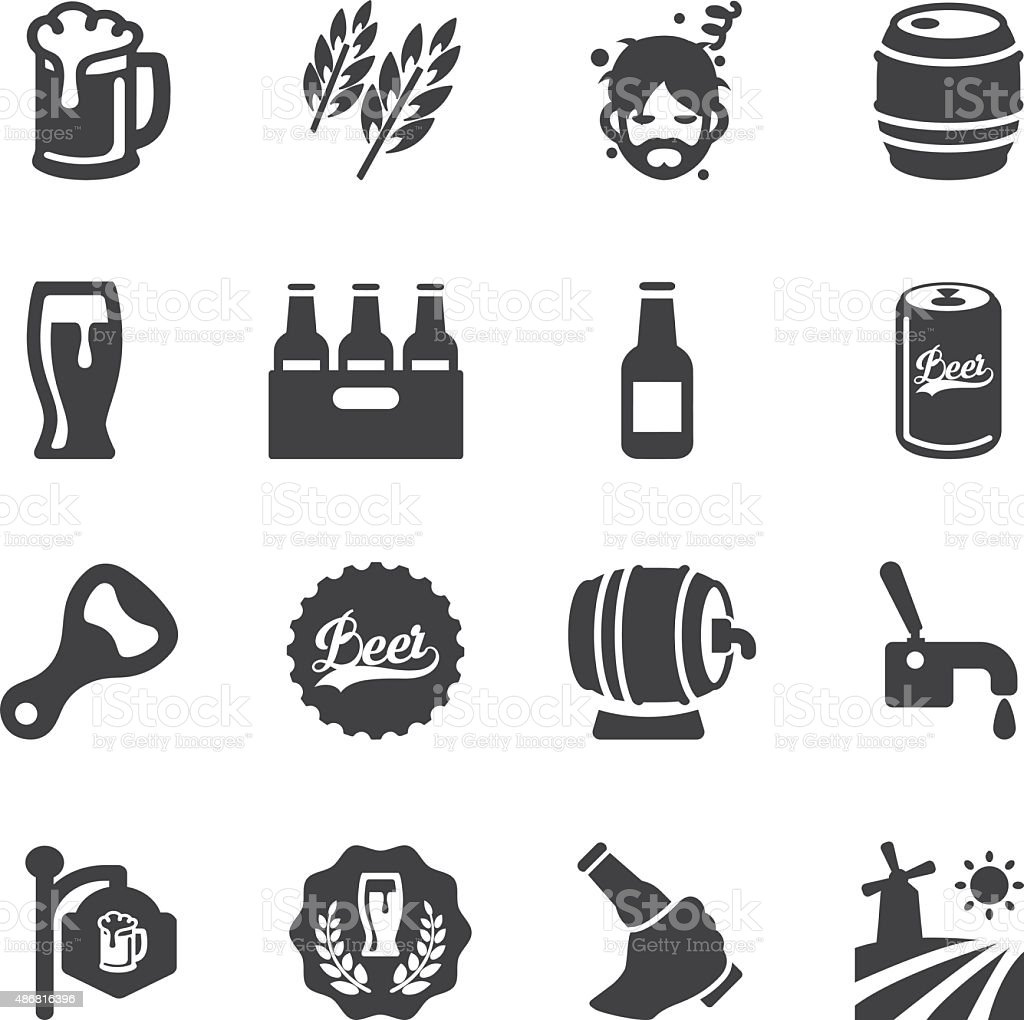 Beer Silhouette icons | EPS10 stock photo