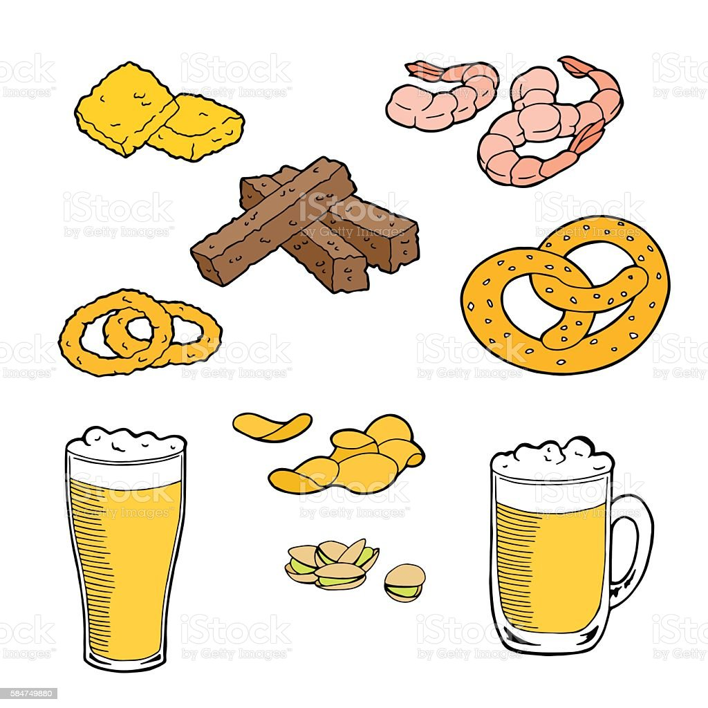 Beer snack graphic art set color isolated illustration vector vector art illustration