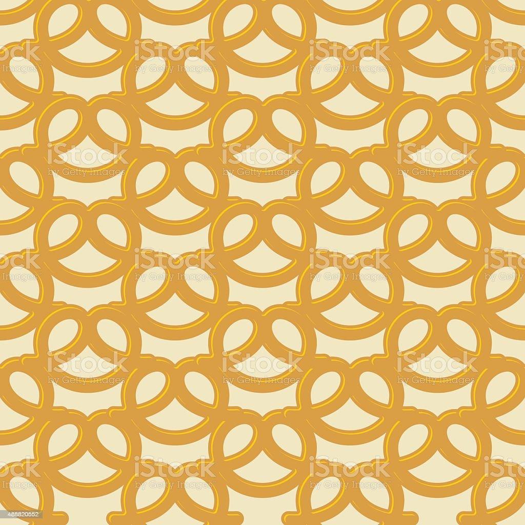 Beer snack seamless background. Vector pattern pretzel.  Nationa vector art illustration