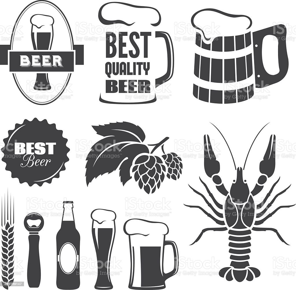 Beer symbols vector art illustration