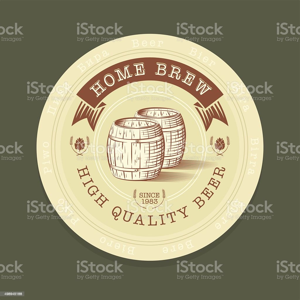 Beer tag in engraved style vector art illustration