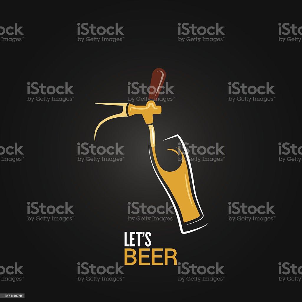 beer tap glass design background vector art illustration