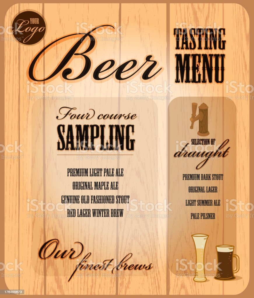 Beer Tasting Menu design template vector art illustration