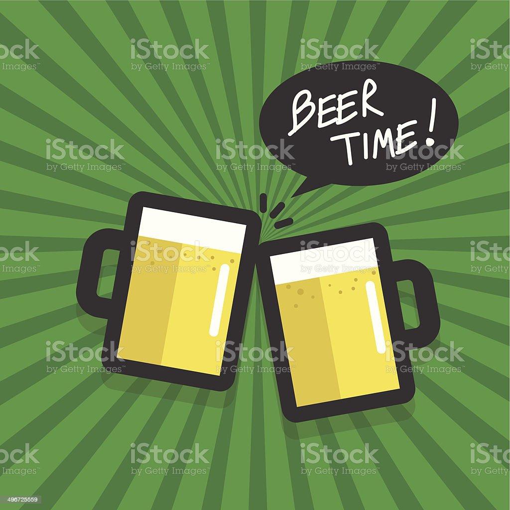 Beer time flat design vector vector art illustration
