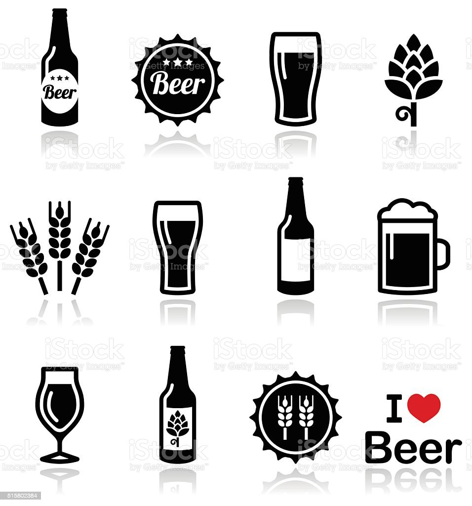 Beer vector icons set - bottle, glass, pint vector art illustration
