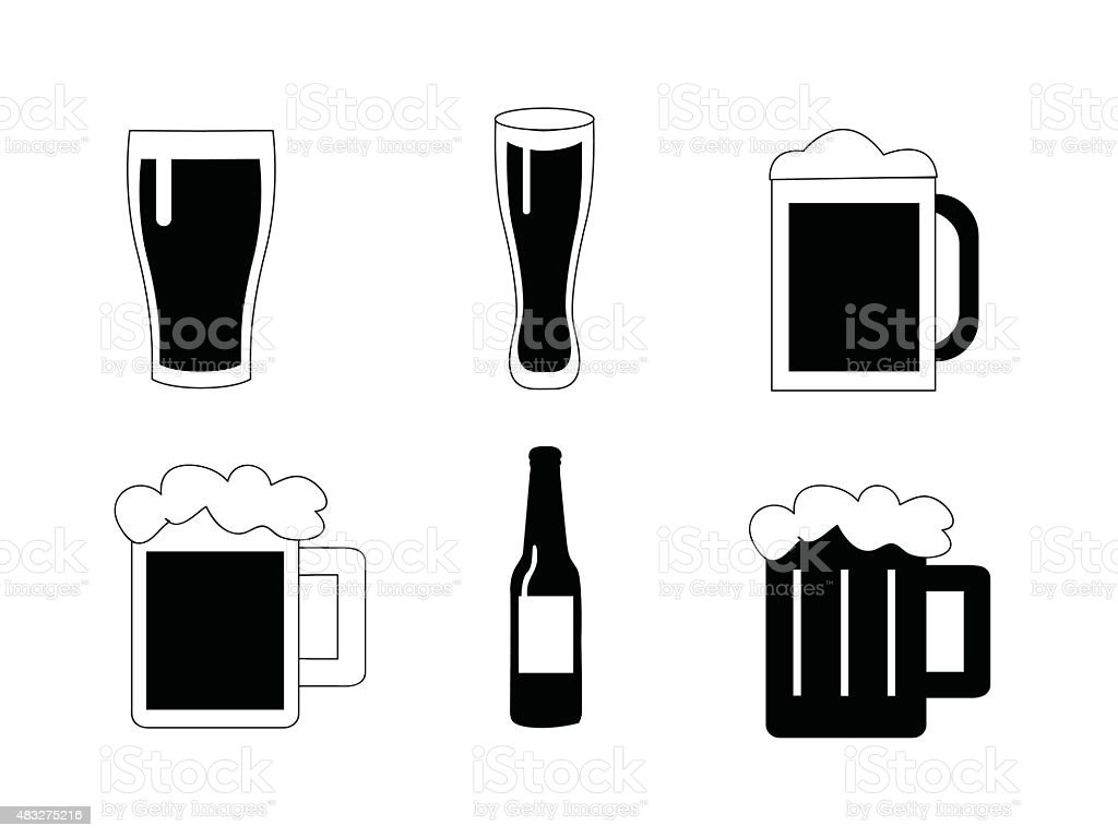Beer vector icons set vector art illustration