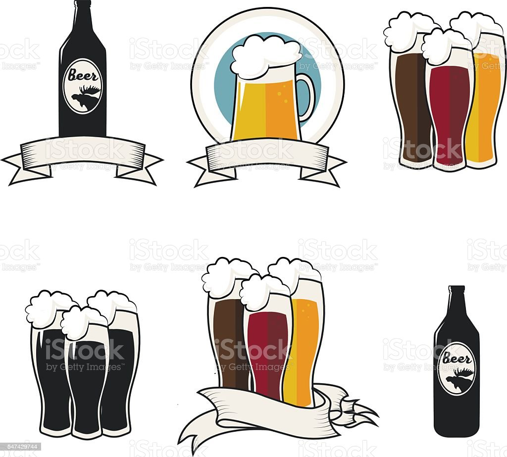 Beer vector icons vector art illustration