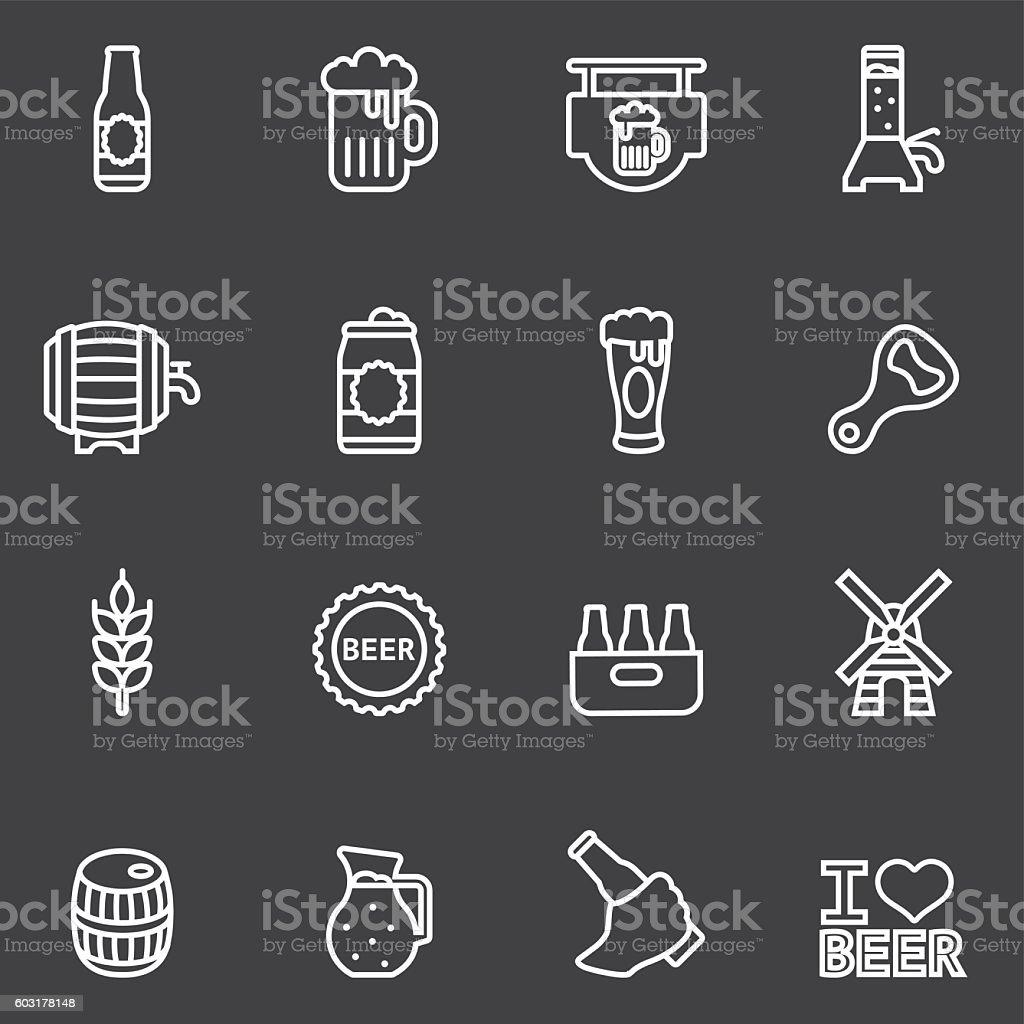Beer White Line icons | EPS10 vector art illustration