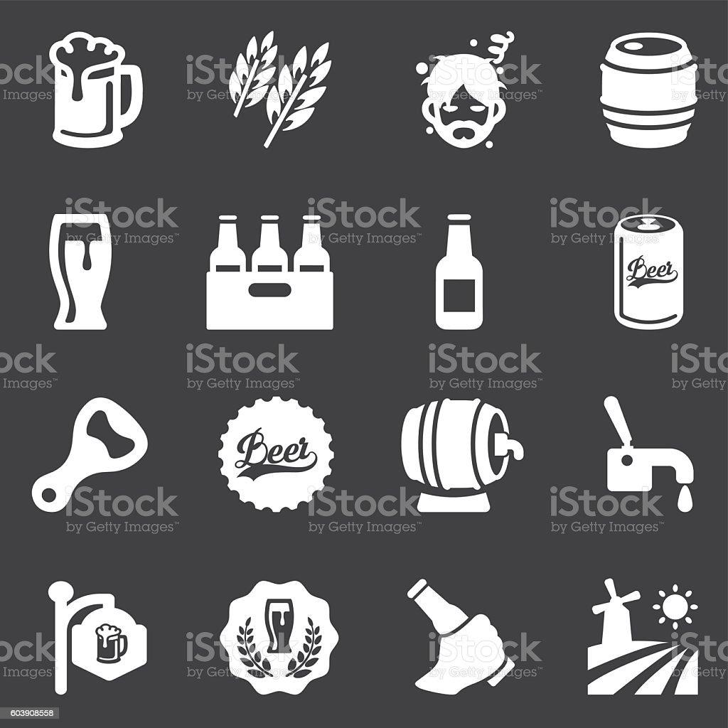 Beer White Silhouette icons | EPS10 vector art illustration