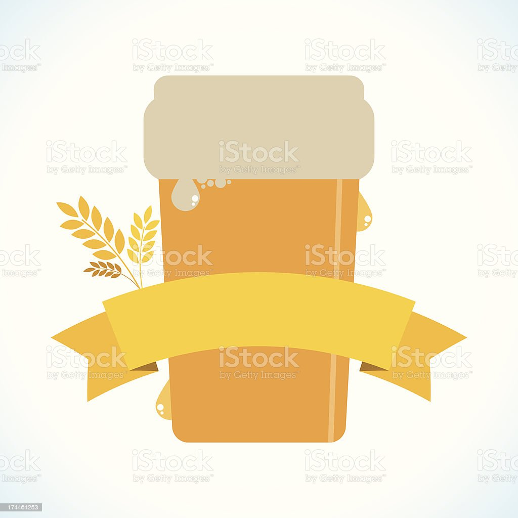 Beer with a banner vector art illustration
