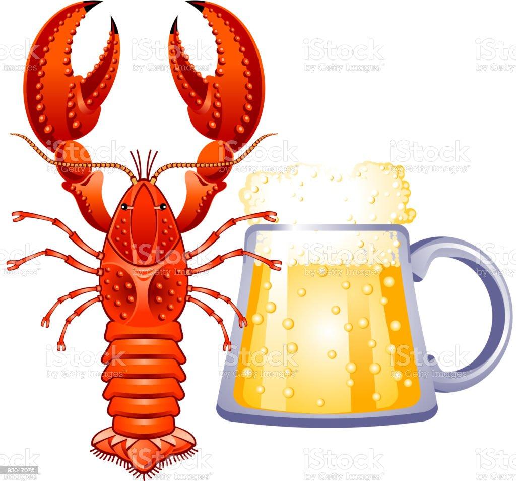 Beer-crawfish vector art illustration